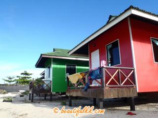 Colourful Chalets at Sipadan Dive Centre Mabul